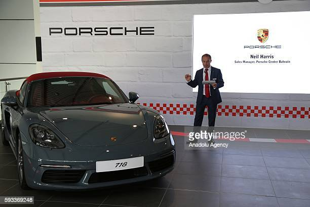 Neil Harris Sales Manager at Porsche Centre Bahrain presents the Porsche's new model of cars 718 Boxster and 718 Boxster S during the launch at Euro...