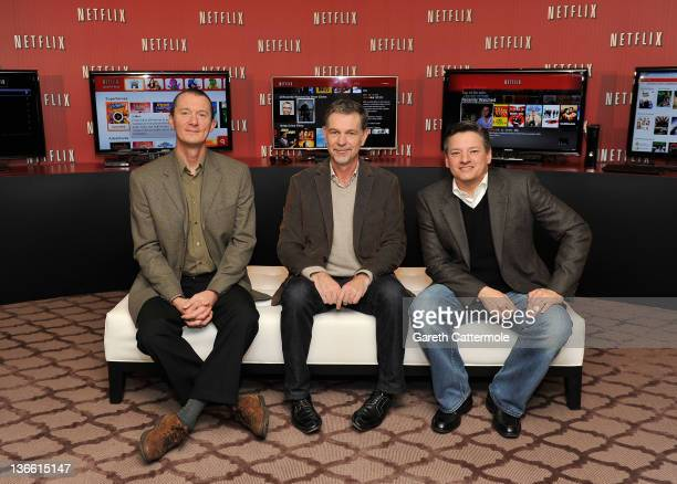 Neil Hunt Chief Product Officer Netflix Reed Hastings CoFounder and CEO Netflix Ted Sarandos Chief Content Officer Netflix pose during the Netflix UK...
