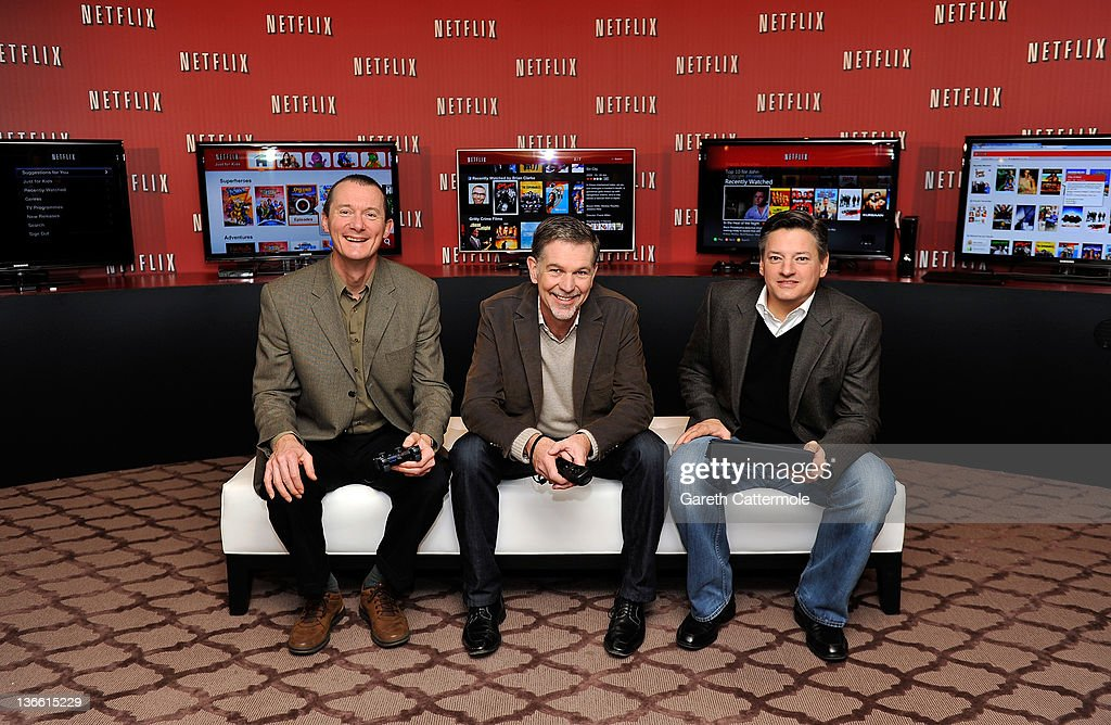 Neil Hunt, Chief Product Officer Netflix, <a gi-track='captionPersonalityLinkClicked' href=/galleries/search?phrase=Reed+Hastings&family=editorial&specificpeople=3798482 ng-click='$event.stopPropagation()'>Reed Hastings</a> Co-Founder and CEO Netflix, Ted Sarandos, Chief Content Officer Netflix pose during the Netflix UK launch in London, England on January 9, 2012. Netflix the leading global internet subscription service for films and TV programmes, launches today in the United Kingdom and Ireland, offering instant and unlimited access to a broad range of entertainment for the low monthly price of £5.99 in the UK and €6.99 in Ireland.