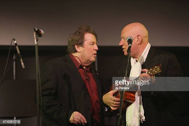 Neil Innes speaks with host Martin Lewis before he performs at the Fest For Beatles Fans 2014 at Grand Hyatt New York on February 8 2014 in New York...
