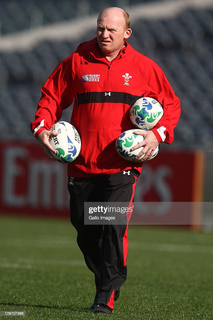 <a gi-track='captionPersonalityLinkClicked' href=/galleries/search?phrase=Neil+Jenkins&family=editorial&specificpeople=217587 ng-click='$event.stopPropagation()'>Neil Jenkins</a>, Kicking Coach looks on during the Welsh national rugby team Captain's Run at Eden Park on October 20, 2011 in Auckland, New Zealand.