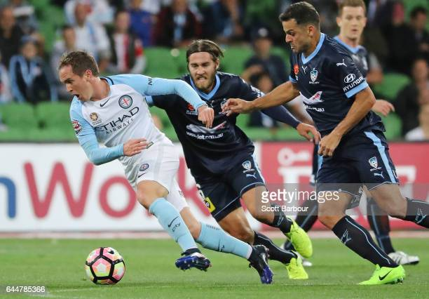 Neil Kilkenny of City competes for the ball during the round 21 ALeague match between Melbourne City and Sydney FC at AAMI Park on February 24 2017...