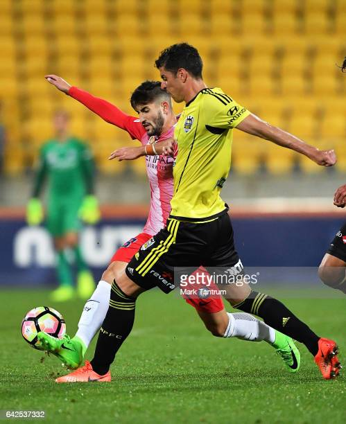 Neil Kilkenny of Melbourne City and Vince Lia of the Wellington Phoenix during the round 20 ALeague match between the Wellington and Melbourne City...