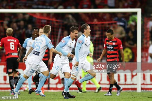 Neil Kilkenny of Melbourne City celebrates scoring a goal during the round 24 ALeague match between the Western Sydney Wanderers and Melbourne City...