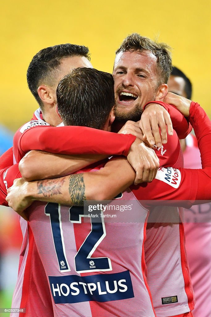 Neil Kilkenny of Melbourne City congratulates Nick Fitzgerald of Melbourne City for scoring during the round 20 A-League match between the Wellington and Melbourne City at Westpac Stadium on February 18, 2017 in Wellington, New Zealand.