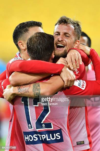 Neil Kilkenny of Melbourne City congratulates Nick Fitzgerald of Melbourne City for scoring during the round 20 ALeague match between the Wellington...