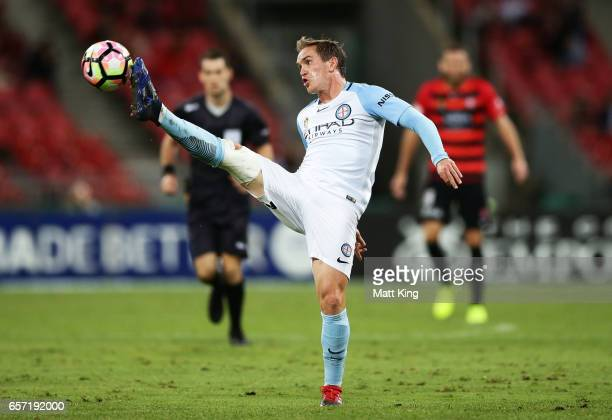 Neil Kilkenny of Melbourne City controls the ball during the round 24 ALeague match between the Western Sydney Wanderers and Melbourne City FC at...