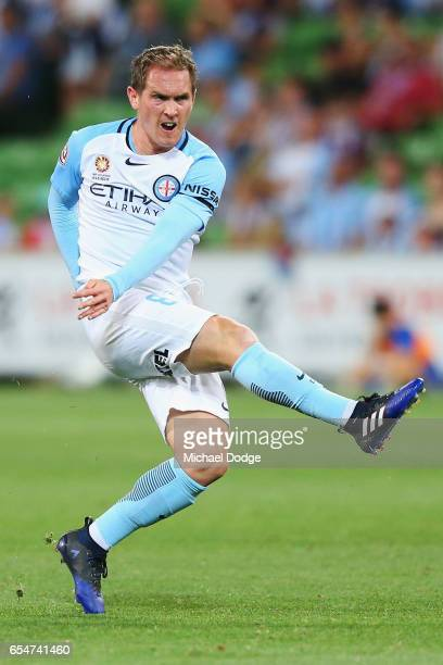 Neil Kilkenny of the City kicks the ball during the round 23 ALeague match between Melbourne City FC and the Newcastle Jets at AAMI Park on March 18...