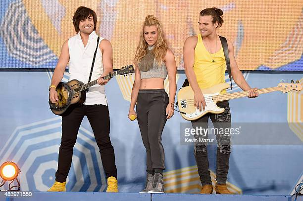 Neil Kimberly and Reid Perry of The Band Perry perform on ABC's 'Good Morning America' at Rumsey Playfield Central Park on August 14 2015 in New York...