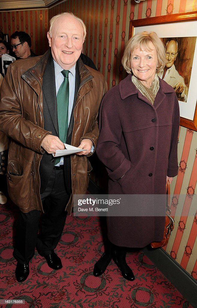 Neil Kinnock (L) and Glenys Kinnock pose in the foyer following the press night performance of 'The Audience' at the Gielgud Theatre on March 5, 2013 in London, England.
