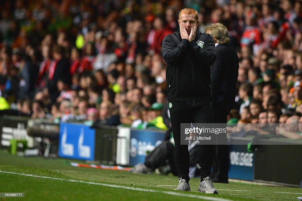 <a gi-track='captionPersonalityLinkClicked' href=/galleries/search?phrase=Neil+Lennon&family=editorial&specificpeople=642944 ng-click='$event.stopPropagation()'>Neil Lennon</a> coach of Celtic reacts during the Champions League UEFA Champions League match between Celtic and SL Benfica at Celtic Park on September 19, 2012 in Glasgow,Scotland.
