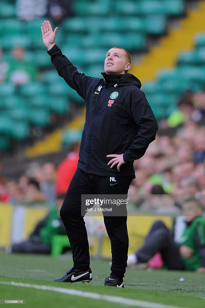 Neil Lennon coach of Celtic reacts during the Clydesdale Bank Premier League match between Celtic and Hearts at Celtic Park on September 11, 2010 in Glasgow, Scotland.