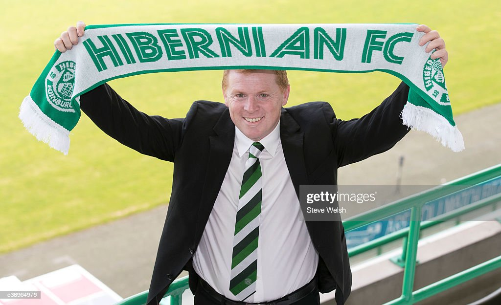 <a gi-track='captionPersonalityLinkClicked' href=/galleries/search?phrase=Neil+Lennon&family=editorial&specificpeople=642944 ng-click='$event.stopPropagation()'>Neil Lennon</a> is unveiled as the new Hibernian Manager at Easter Road on June 09, 2016 in Edinburgh, United Kingdom.