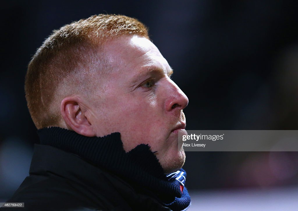 Neil Lennon manager of Bolton Wanderers looks on during the FA Cup Fourth round replay between Bolton Wanderers and Liverpool at Macron Stadium on...