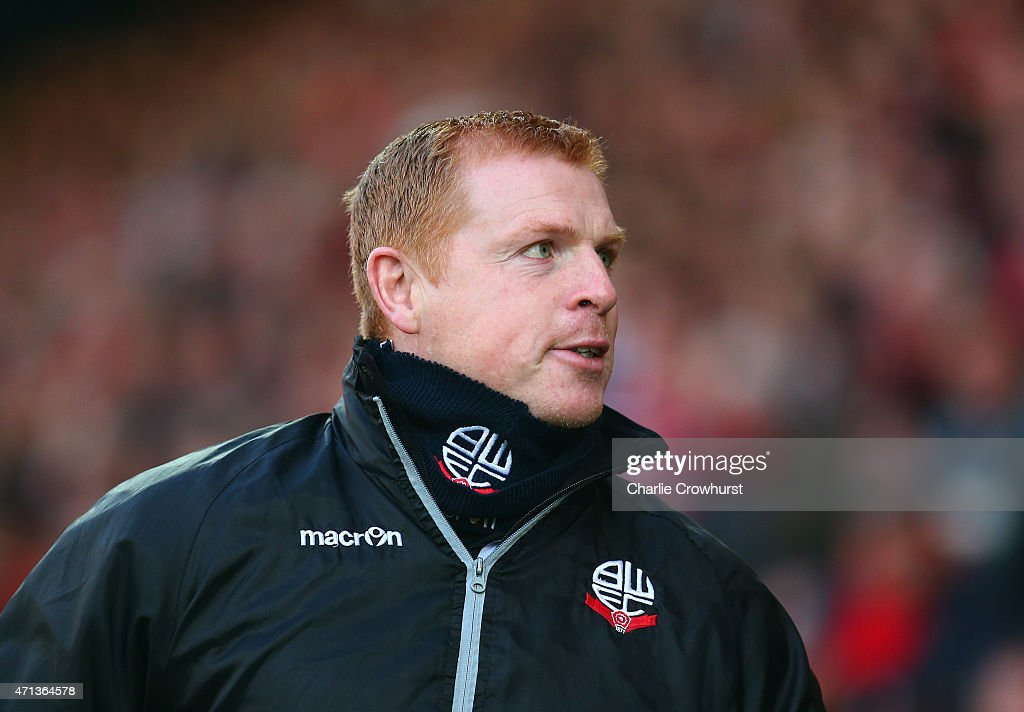 Neil Lennon manager of Bolton Wanderers looks on prior to the Sky Bet Championship match between AFC Bournemouth and Bolton Wanderers at Goldsands...
