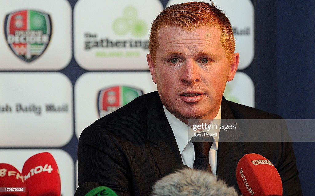 Neil Lennon manager of Celtic talks during a Press Conference at Mansion House on August 9 2013 in Dublin Ireland