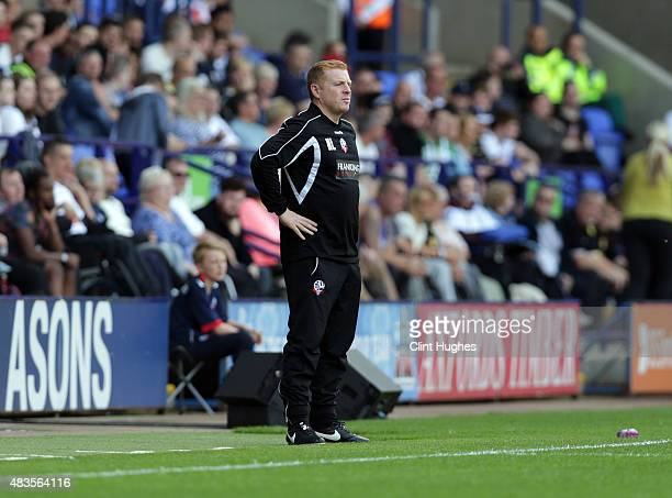 Neil Lennon mangar of Bolton Wanderers during the Sky Bet Championship match between Bolton Wanderers and Derby County at the Macron Stadium on...