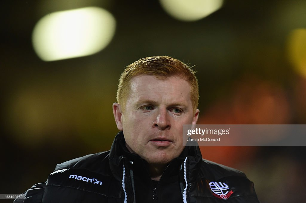 Neil Lennon of Bolton looks on during the Sky Bet Championship match between Norwich City and Bolton Wanderers at Carrow Road on October 31 2014 in...