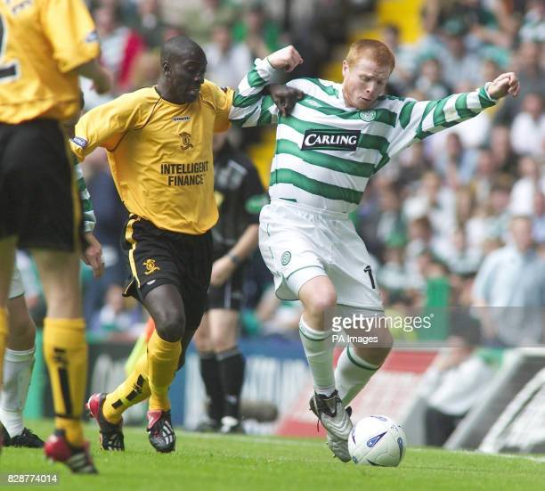 Neil Lennon of Celtic comes under pressure from Livingston's Cherif ToureMaman during their Bank of Scotland Scottish Premiership match at Celtic...