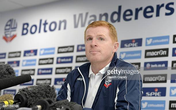 Neil Lennon speaks during a press conference where he was unveiled as the new Bolton Wanderers manager at the Macron Stadium on October 13 2014 in...