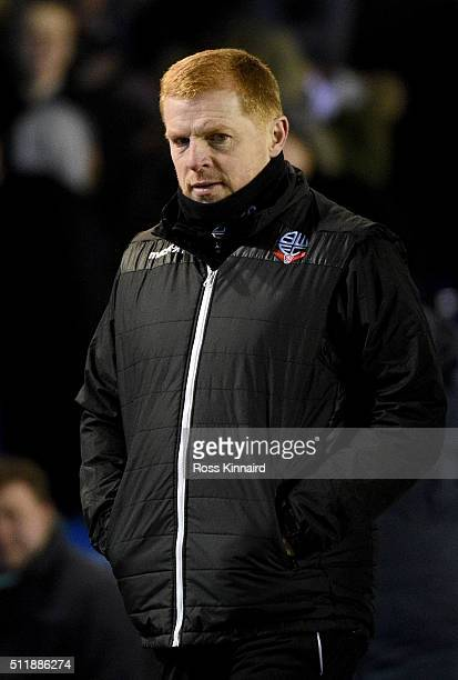 Neil Lennon the Bolton mamager during the Sky Bet Championship match between Birmingham City and Bolton Wanderers at St Andrews Stadium on February...