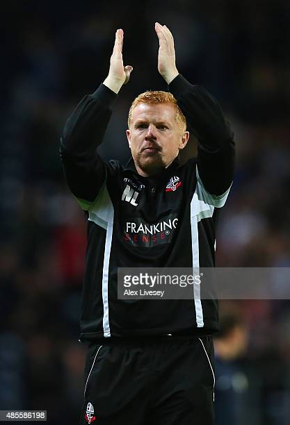 Neil Lennon the manager of Bolton Wanderers applauds his supporters after the Sky Bet Championship match between Blackburn Rovers and Bolton...