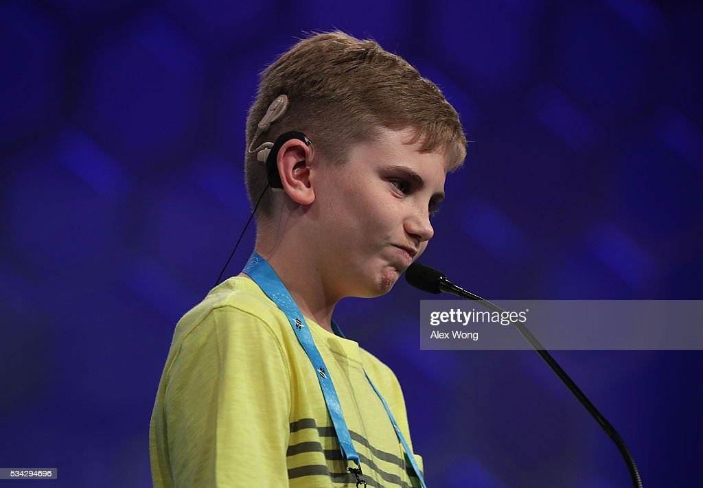 Neil Maes of Belton, South Carolina, participates in round three of the 2016 Scripps National Spelling Bee May 25, 2016 in National Harbor, Maryland. Students from across the country gathered to compete for top honor of the annual spelling championship.