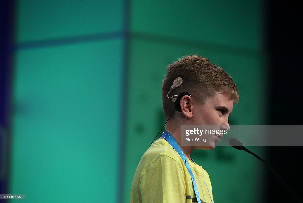 Neil Maes of Belton, South Carolina, participates in round two of the 2016 Scripps National Spelling Bee May 25, 2016 in National Harbor, Maryland. Students from across the country gathered to compete for the top honor at the annual spelling championship.