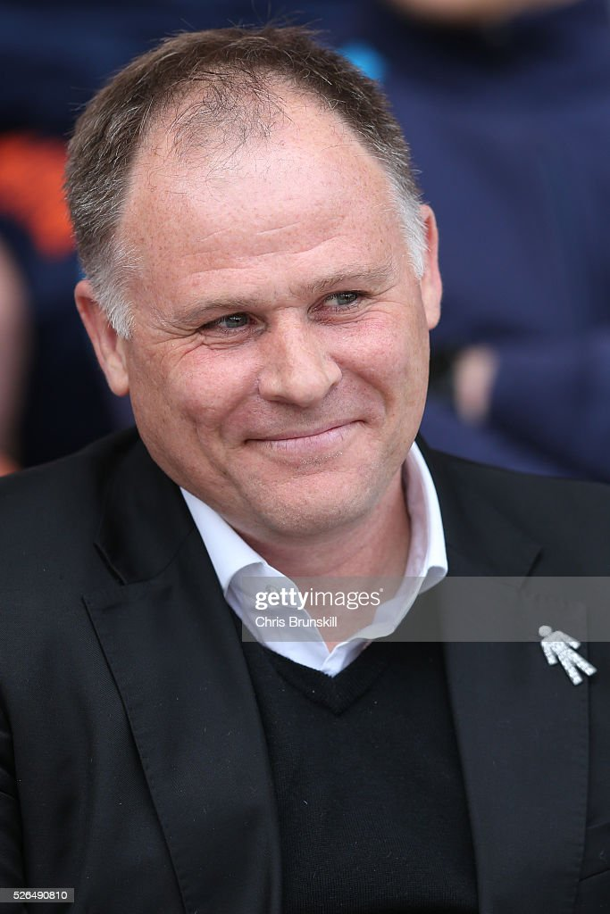 Neil McDonald manager of Blackpool looks on prior to the Sky Bet League One match between Blackpool and Wigan Athletic at Bloomfield Road on April 30, 2016 in Blackpool, England.