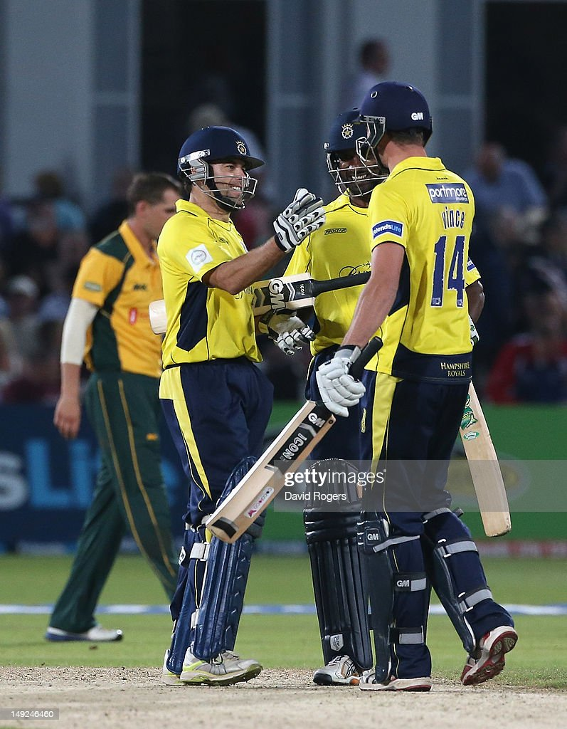 <a gi-track='captionPersonalityLinkClicked' href=/galleries/search?phrase=Neil+McKenzie+-+Cricket+Player&family=editorial&specificpeople=2224176 ng-click='$event.stopPropagation()'>Neil McKenzie</a> (L) of Hampshire celebrates with team mates after scoring the match winning run off the final over during the Friends Life T20 match between Nottinghamshire and Hampshire at Trent Bridge on July 25, 2012 in Nottingham, England.