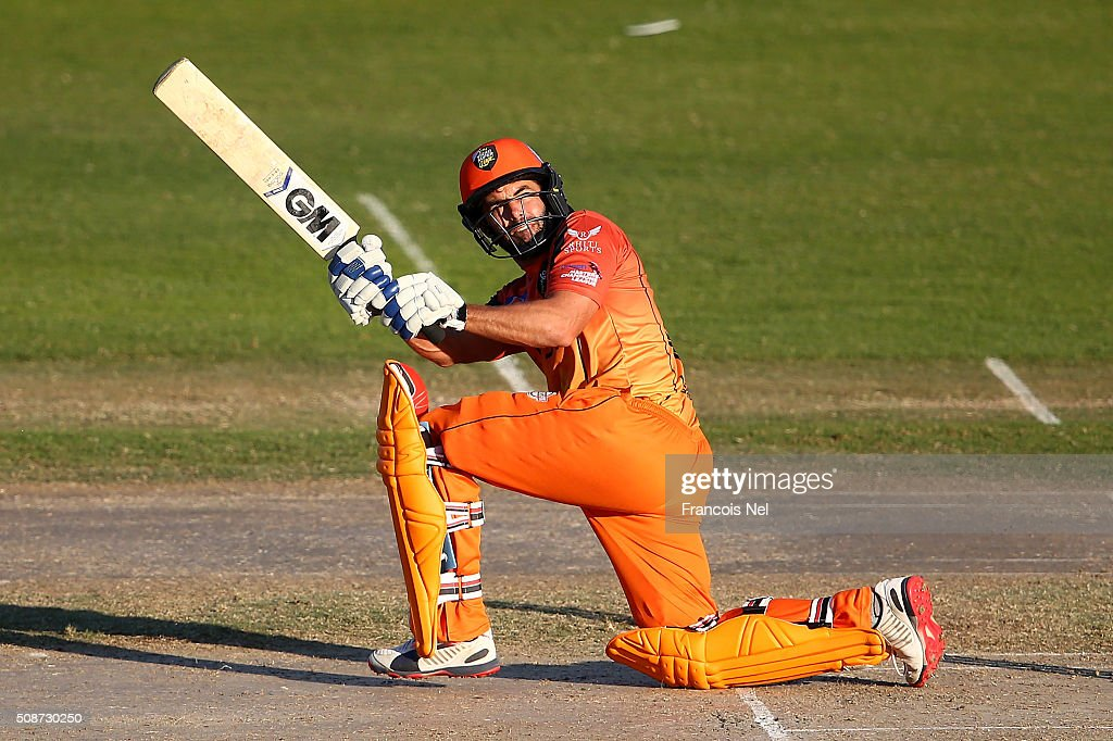 Neil McKenzie of Virgo Super Kings bats during the Oxigen Masters Champions League match between Gemini Arabians and Virgo Super Kings on February 6, 2016 in Sharjah, United Arab Emirates.