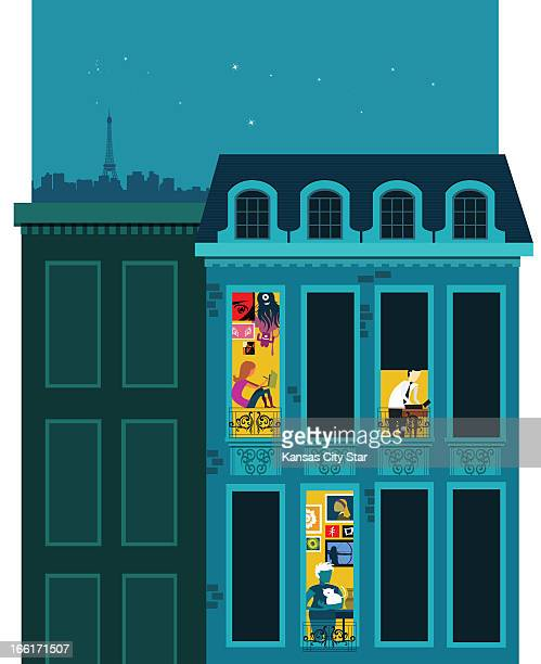 Neil Nakahodo color illustration of a Parisian apartment building at night with views inside three of the windows and the Paris cityscape in the...