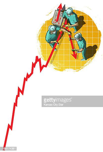 Neil Nakahodo color illustration of surgeons working to repair a downwardmoving economic index