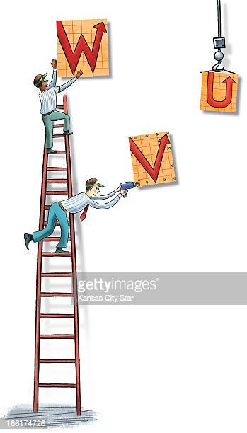 Neil Nakahodo color illustration of two men on a ladder putting up feverchart arrows that point upward can be used with stories about rising stock...