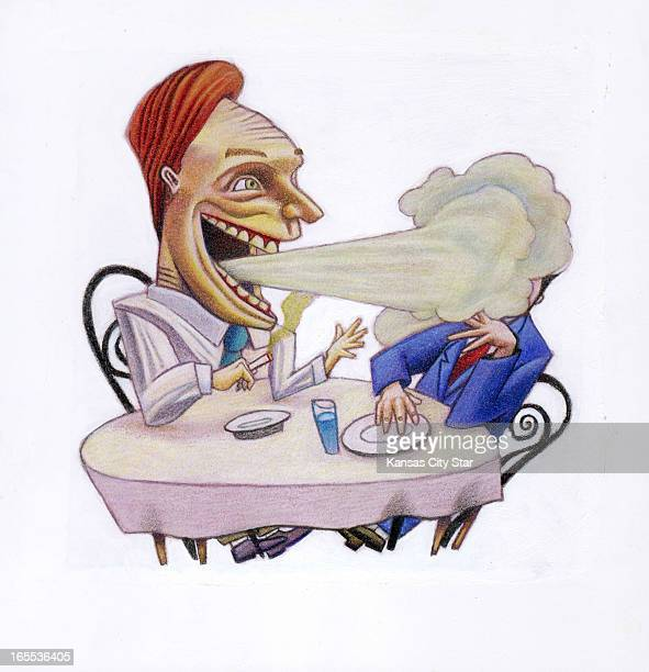 Neil Nakahodo color illustration of two people at a table one is smoking and blowing smoke in the other's face For use with stories about business...