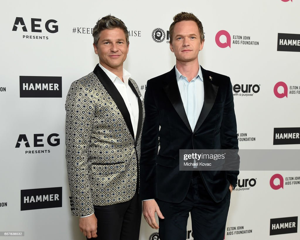 Neil Patrick Harris (R) and David Burtka celebrate Elton John's 70th Birthday and 50-Year Songwriting Partnership with Bernie Taupin benefiting the Elton John AIDS Foundation and the UCLA Hammer Museum at RED Studios Hollywood on March 25, 2017 in Los Angeles, California.