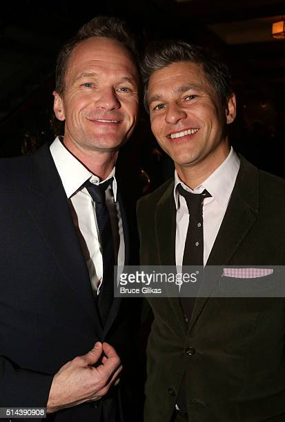 Neil Patrick Harris and husband David Burtka pose at the Opening Night for the new musical 'Disaster' on Broadway at The Nederlander Theatre on March...
