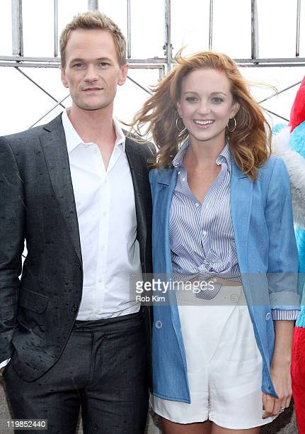Neil Patrick Harris and Jayma Mays visit the The Empire State Building on July 25 2011 in New York City