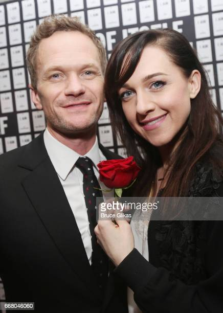Neil Patrick Harris and Lena Hall pose at the opening night after party for 'In Of Itself' at The Ace Hotel on April 12 2017 in New York City