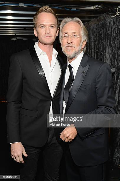 Neil Patrick Harris and President of the National Academy of Recording Arts and Sciences Neil Portnow attend the 56th GRAMMY Awards at Staples Center...