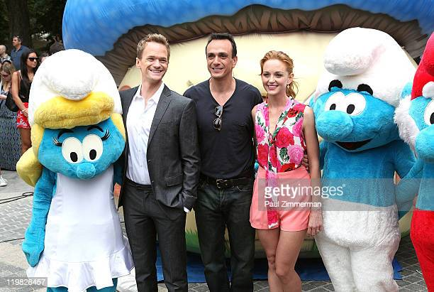 Neil Patrick Harris Hank Azaria and Jayma Mays attend the New York Smurf Week kick off ceremony at Smurfs Village at Merchant's Gate Central Park on...