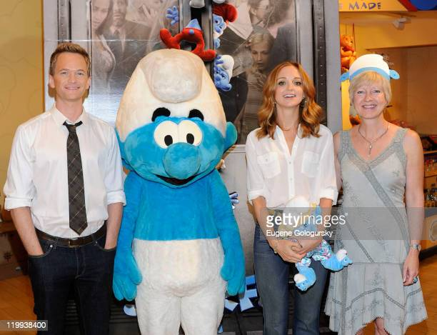 Neil Patrick Harris Jayma Mays and Veronique Culliford visit the BuildABear Workshop on July 27 2011 in New York City
