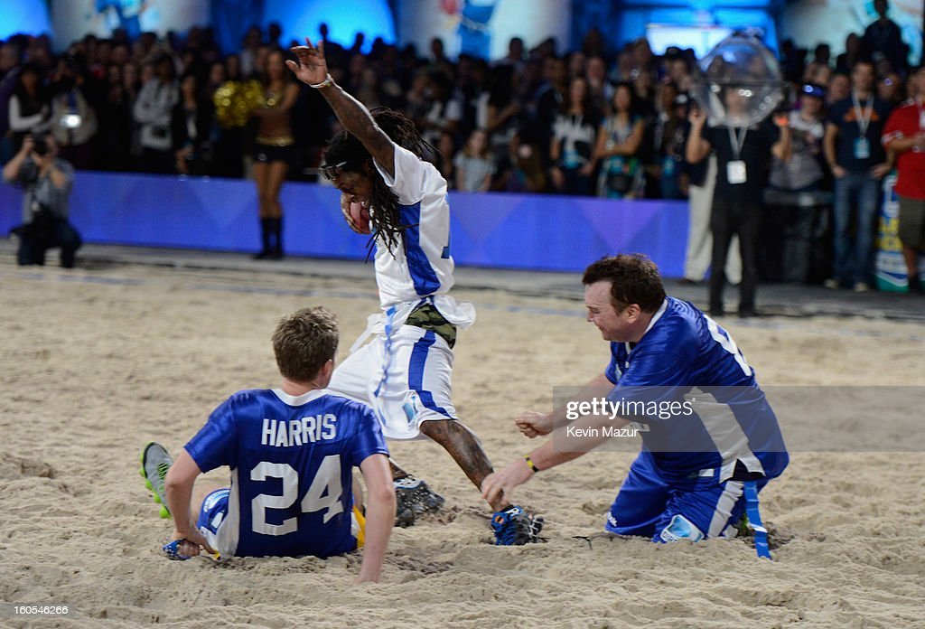 Neil Patrick Harris, Lil Wayne, and Tom Arnold attend DIRECTV'S 7th annual celebrity Beach Bowl at DTV SuperFan Stadium at Mardi Gras World on February 2, 2013 in New Orleans, Louisiana.