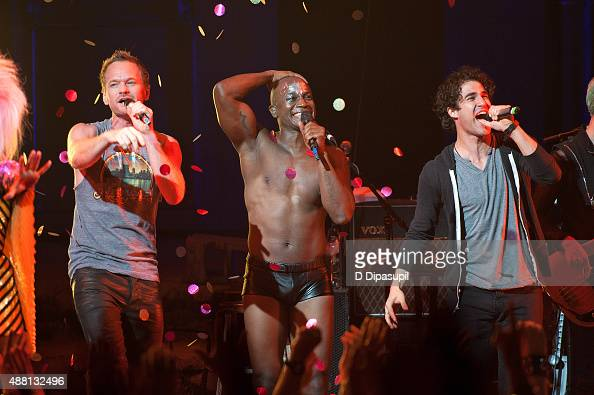Neil Patrick Harris Taye Diggs and Darren Criss perform onstage during the 'Hedwig and the Angry Inch' Broadway final performance at the Belasco...