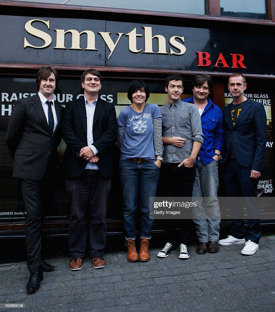 Neil Payne, Tony McGovern, Sharleen Spiteri, Eddie Campbell, Johhny McElhone and Ally McErlaine of Texas at Smyths Bar, Limerick as part of the annual Arthur's Day celebrations on September 27, 2012. Celebrating the life and legacy of Arthur Guinness, the man behind the iconic pint, Arthur's Day sees fans come together to experience live music events in over 500 intimate venues around the island of Ireland and for the first time in London, including surprise performances in small pubs. Leading the celebrations in London are Sir Tom Jones, Razorlight, Wretch 32 and VV Brown, whilst artists as diverse as Example, Tinie Tempah, Ellie Goulding, Mika, Professor Green, Fat Boy Slim, Texas, Fun Lovin' Criminals and Mumford & Sons perform in pubs around Ireland. The fourth annual celebration will take place in over 55 countries including, Spain, Italy, Germany, France, Caribbean nations, Malaysia, Indonesia, Australia, Japan, Singapore, South Korea, Ireland and Great Britain. For more information visit www.guinness.com or the Guinness Facebook page.