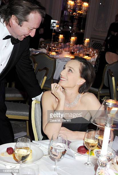 Neil Pearson and Kristin Scott Thomas attend a drinks reception during the 57th Evening Standard Theatre Awards at The Savoy Hotel on November 20...