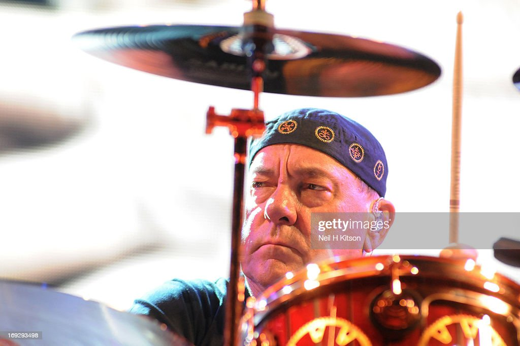 <a gi-track='captionPersonalityLinkClicked' href=/galleries/search?phrase=Neil+Peart&family=editorial&specificpeople=2133163 ng-click='$event.stopPropagation()'>Neil Peart</a> of Rush perform on stage at Manchester Arena on May 22, 2013 in Manchester, England.