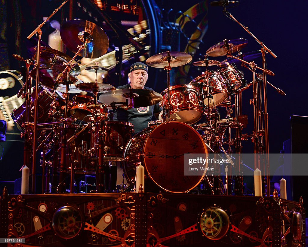 Neil Peart of Rush performs at BB&T Center on April 26, 2013 in Sunrise, Florida.