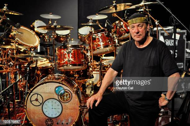 Neil Peart of Rush poses for a portrait with his DW drum kit on the Drum Channel soundstage on May 12 2010 in Oxnard California United States