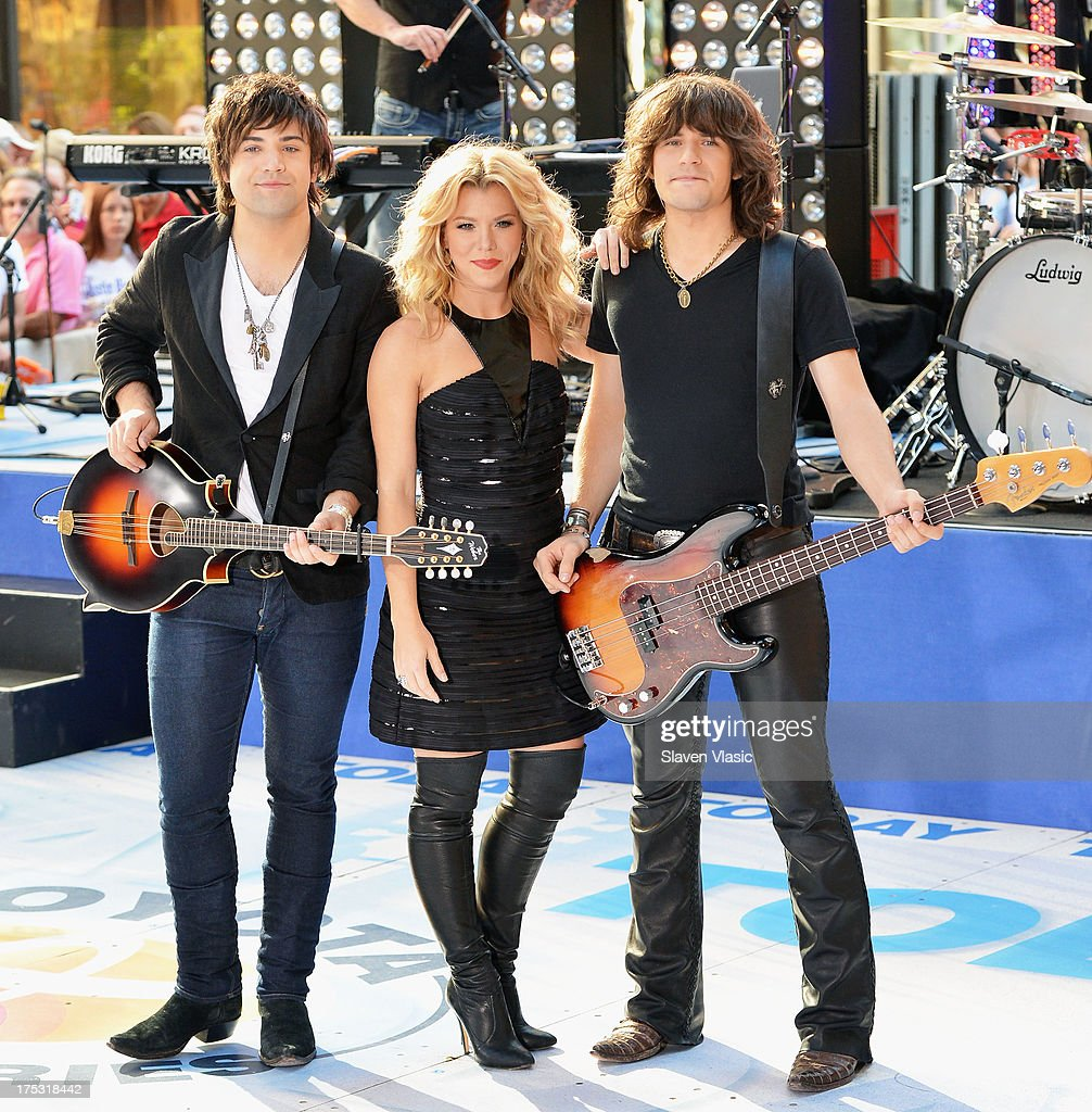 Neil Perry, Kimberly Perry and Reid Perry of The Band Perry perform on NBC's 'Today' in Rockefeller Plaza on August 2, 2013 in New York, New York.